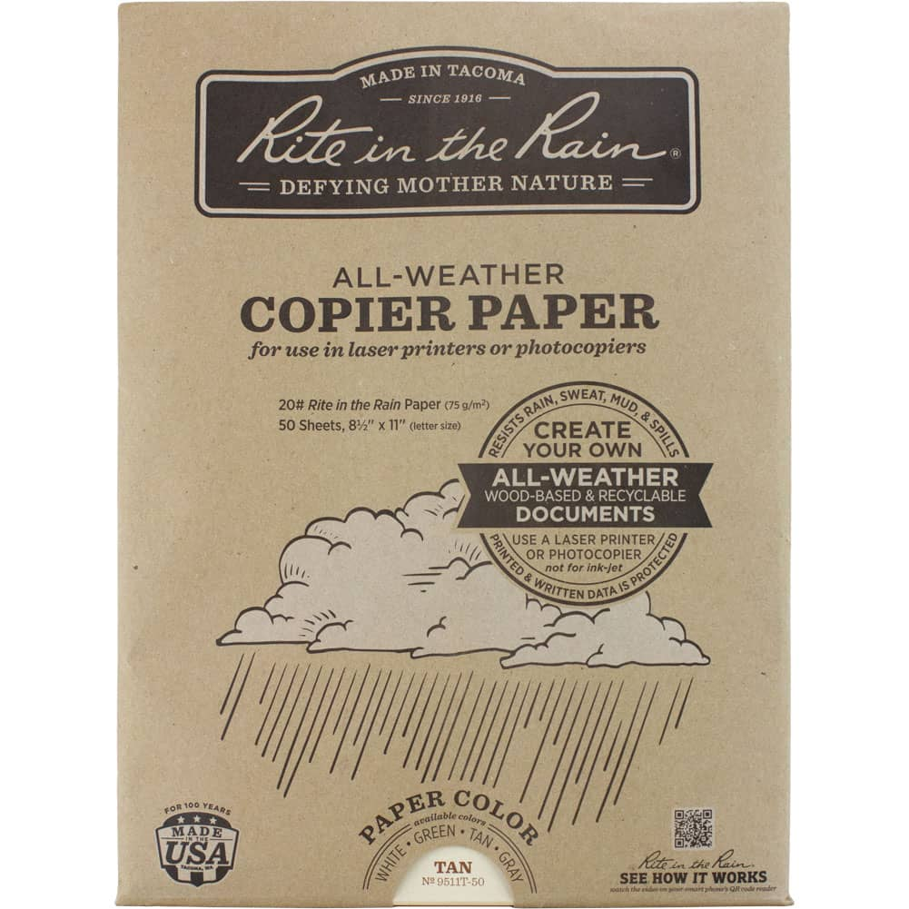 Rite in the Rain Copier Paper Coyote Brown - 50 Sheet Pack
