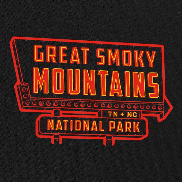 Great Smoky Mountains National Park Neon Sign T-Shirt