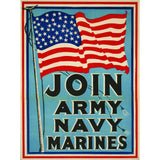 Join the Army Navy Marines Screenprinted Poster