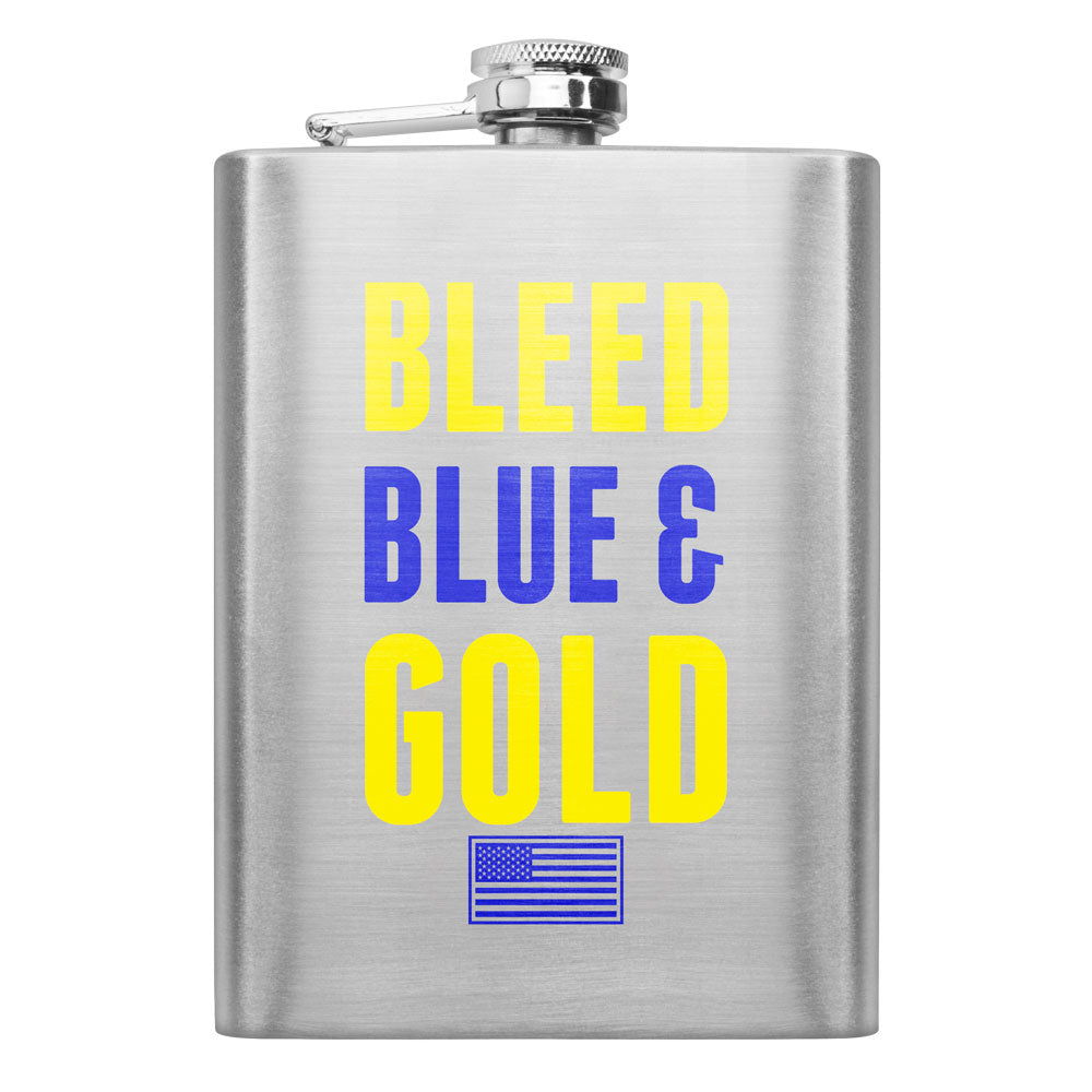 Navy Bleed Blue and Gold 8 oz. Flask