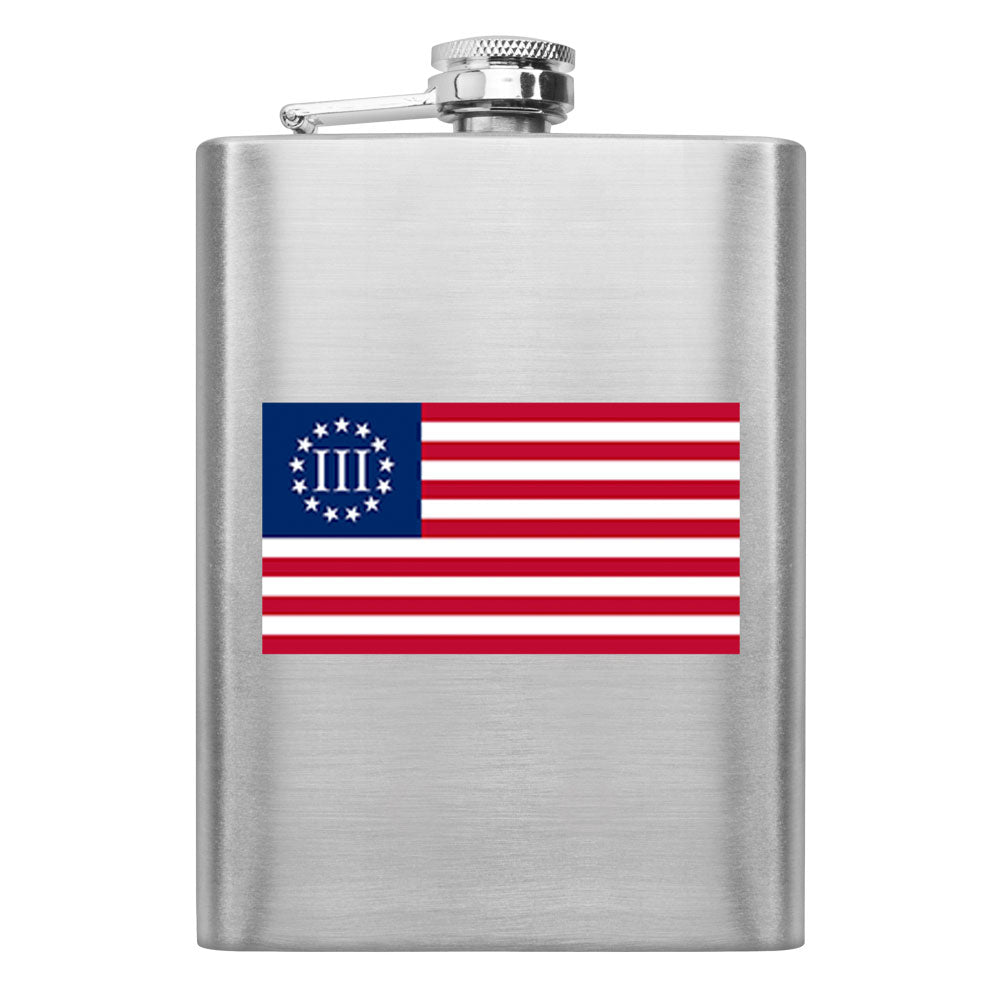 Molon Labe 3 Percenter Flag 8 oz. Flask