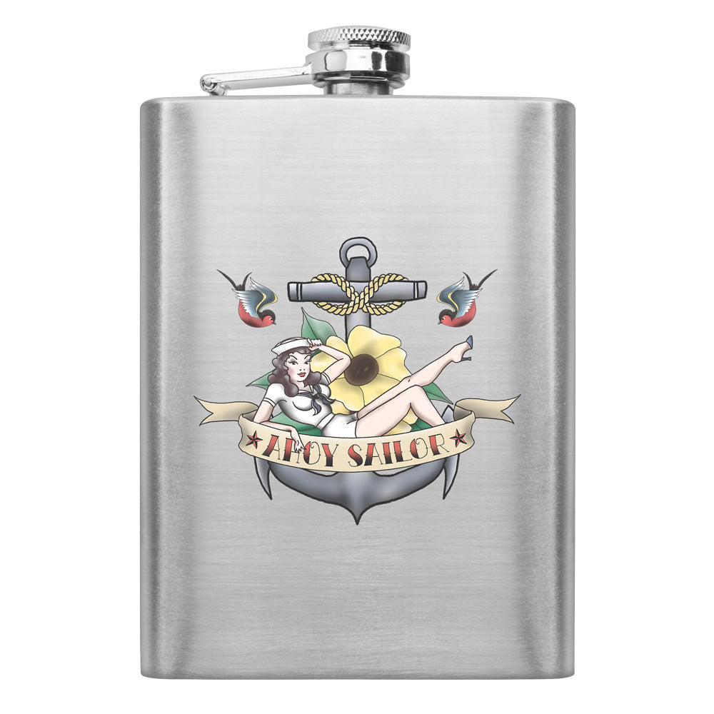 Navy Sailor Pinup Tattoo 8 oz. Flask