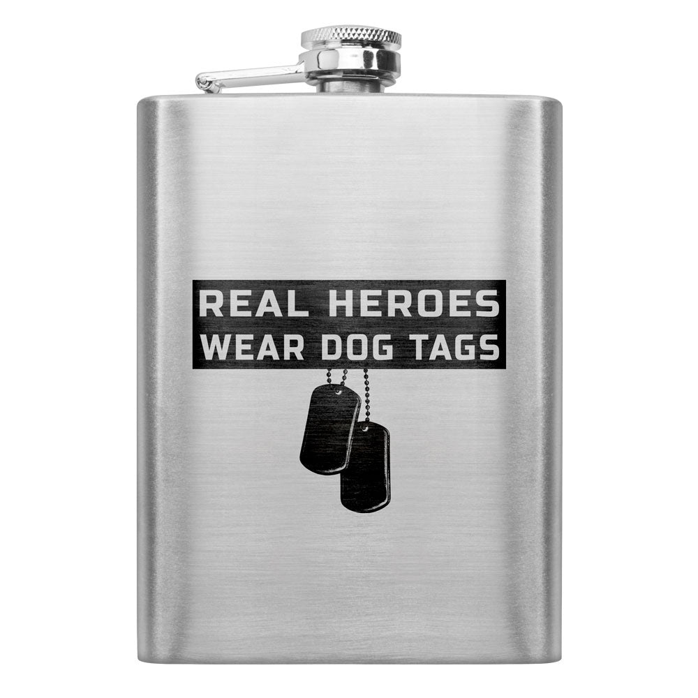 Real Heroes Wear Dog Tags 8 oz. Flask