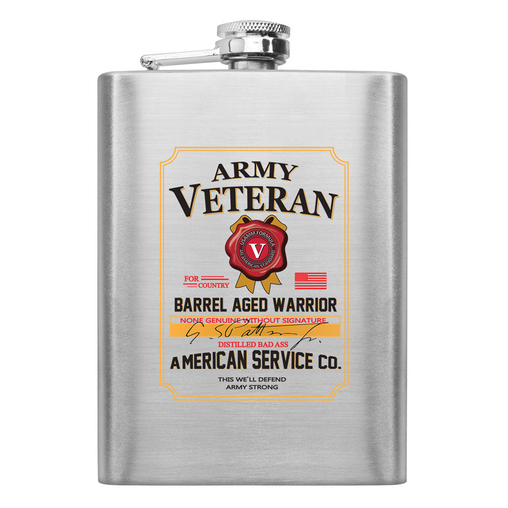 Army Veteran Whiskey Label 8 oz. Flask
