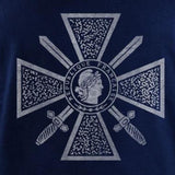Vintage Style French Criox De Guerre Medal (White Ink) T-Shirt