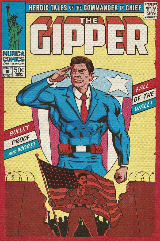 The Gipper: The Fall of the Wall Vintage Comic Canvas Print