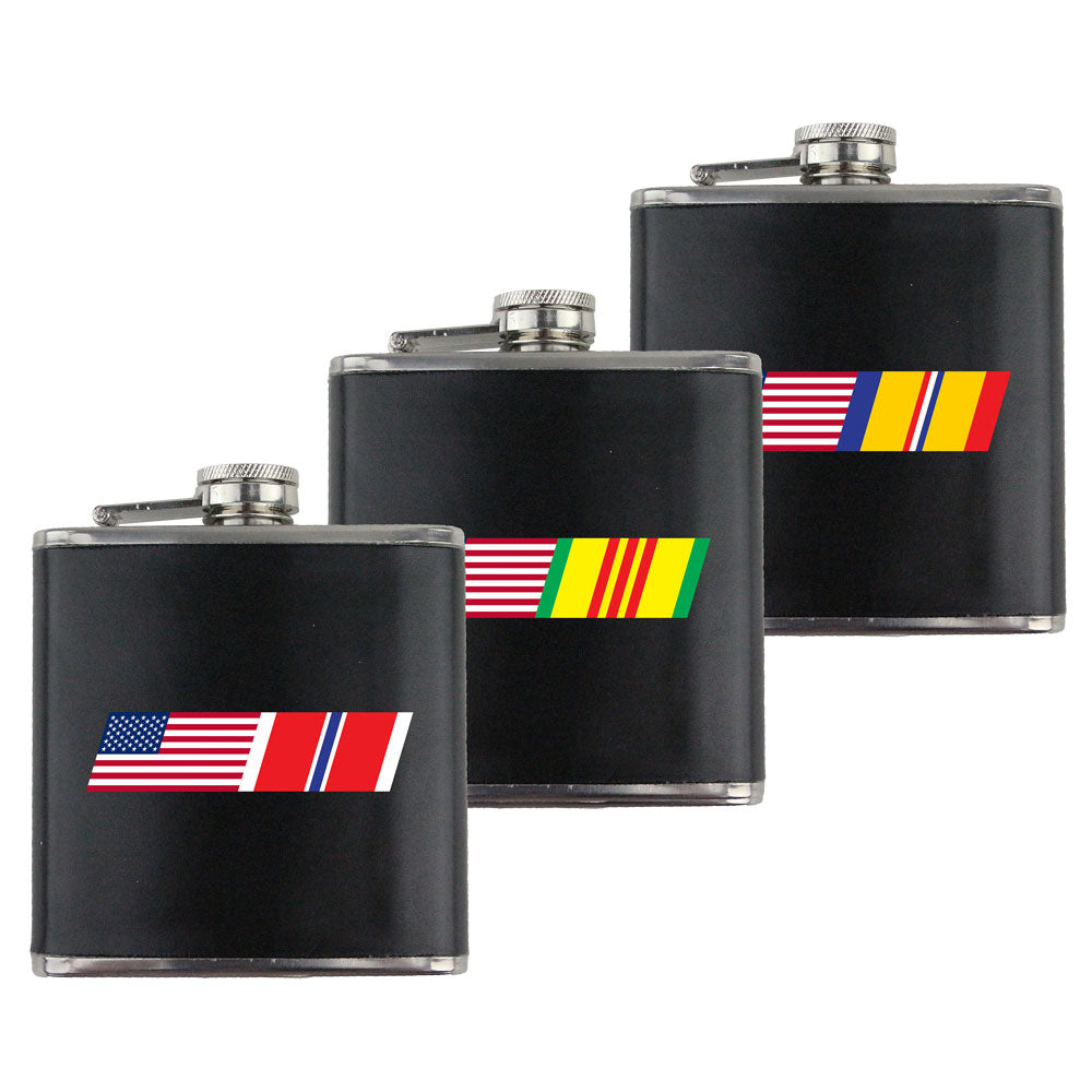 American Flag Ribbon Blend 6 oz. Flasks with Wrap