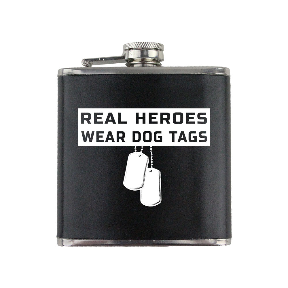 Real Heroes Wear Dog Tags 6 oz. Flask with Wrap