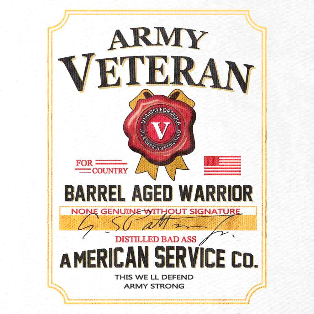 Army Veteran Whiskey Label T-Shirt - White - Small