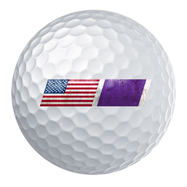 American Flag Purple Heart Ribbon Blend Golf Ball Set