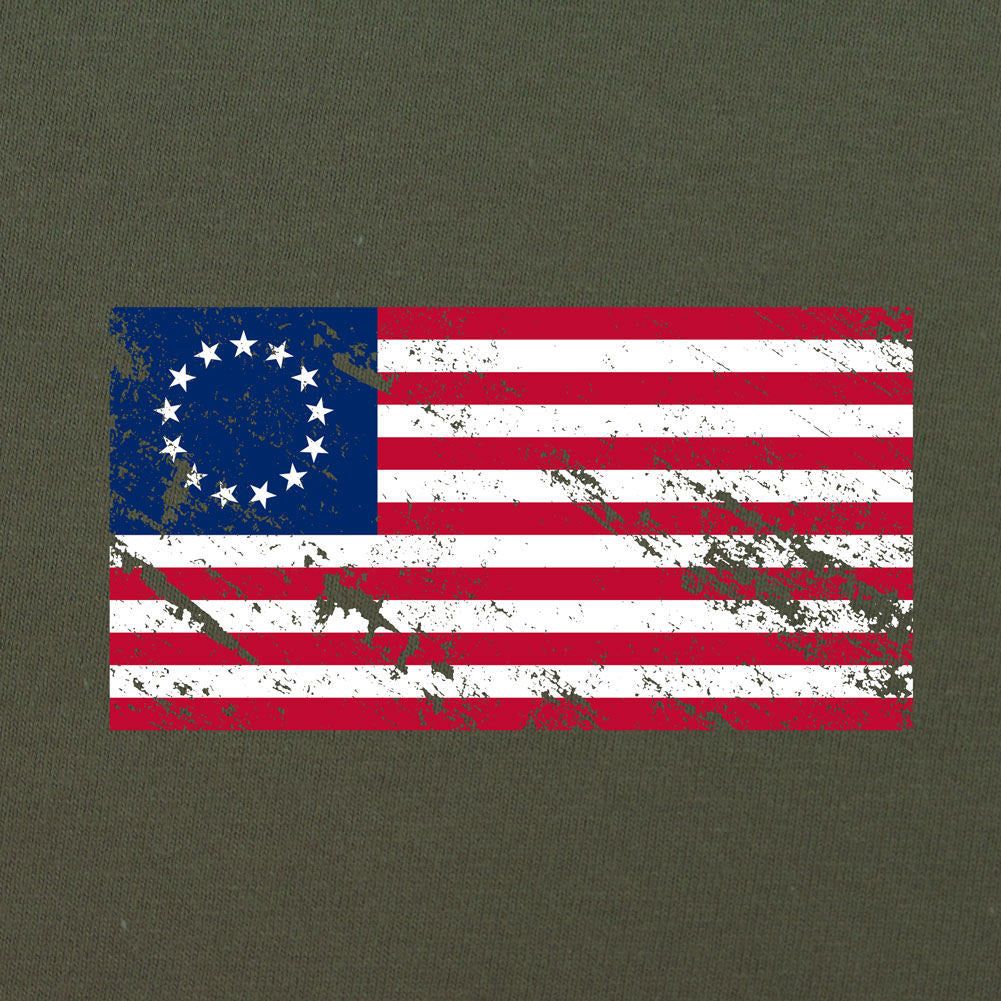 Vintage Betsy Ross Flag Distressed T-Shirt - Sm - Heather Grey