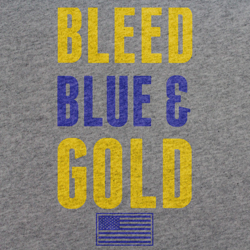 Navy Bleed Blue and Gold T-Shirt - Sm - Heather Grey