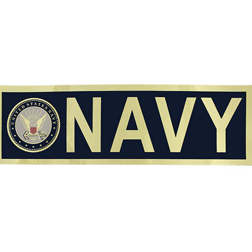 Navy with Seal Metallic Bumper Sticker