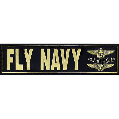 Fly Navy Metallic Bumper Sticker