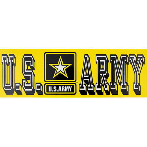 U.S. Army With Star Yellow Bumper Sticker