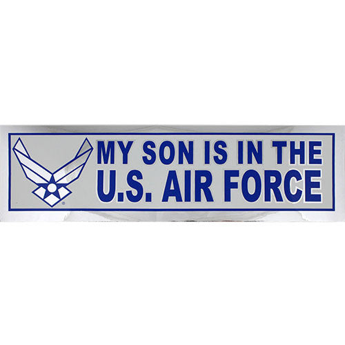 My Son Is In The Air Force Silver Metallic Bumper Sticker