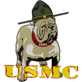 USMC With Bulldog Clear Decal