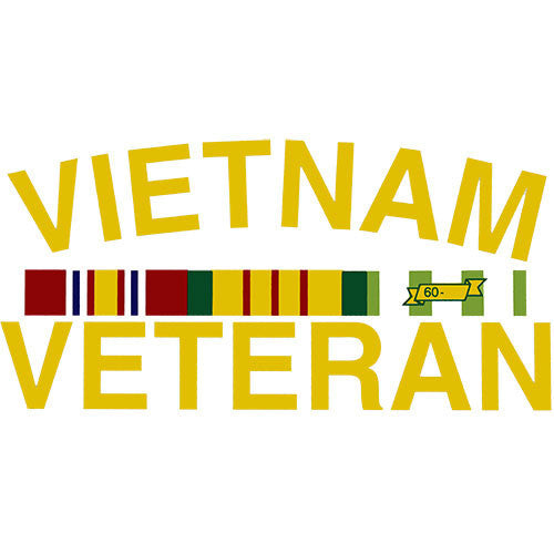 Vietnam Veteran With Ribbons Clear Decal