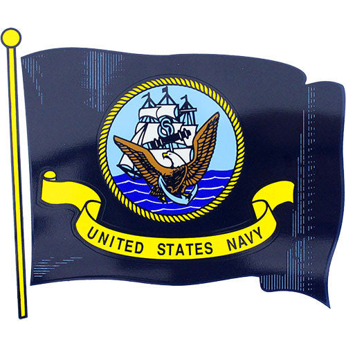 Waving U.S. Navy Flag Clear Decal