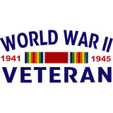 World War II Veteran With Ribbon Clear Decal