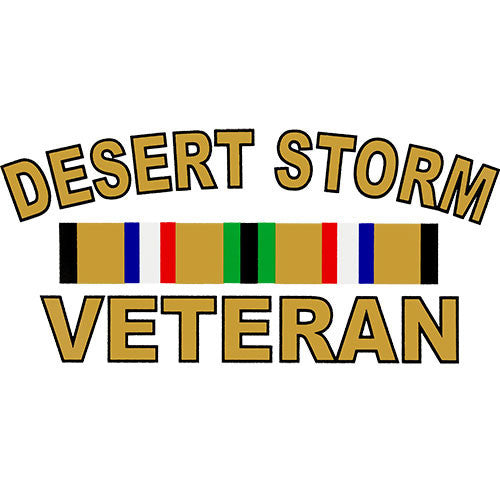 Desert Storm Veteran With Ribbon Clear Decal