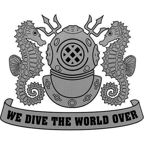 We Dive The World Over (Silver) Clear Decal