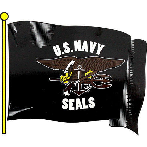 Navy Seals Waving Flag Clear Decal