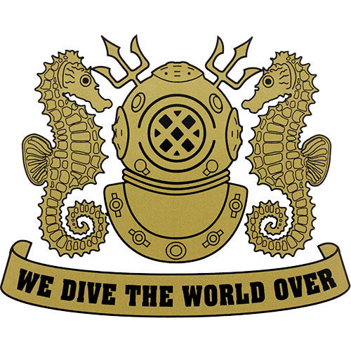 We Dive The World Over (Gold) Clear Decal