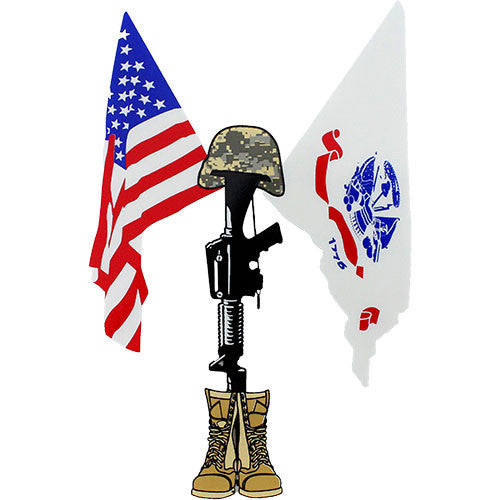 U.S. Army and U.S. Flag with Field Cross Clear Decal