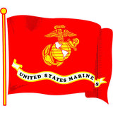 USMC Wavy Flag Clear Decal