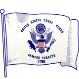 U.S. Coast Guard Waving Flag Clear Decal