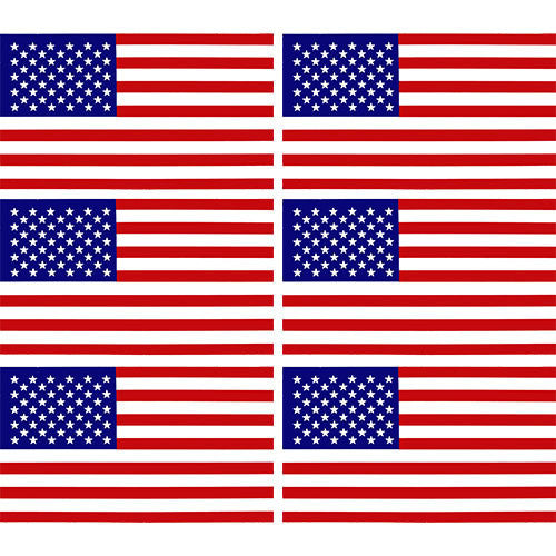 American Flag Clear Vinyl Decal 6 pc.