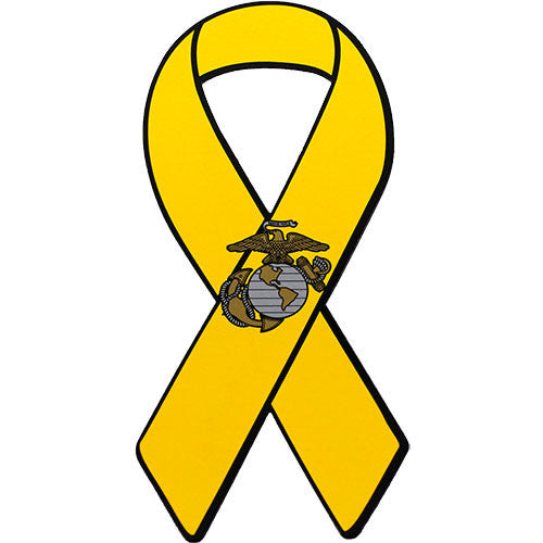Support Our Troops Yellow Ribbon with Eagle Globe and Anchor 8