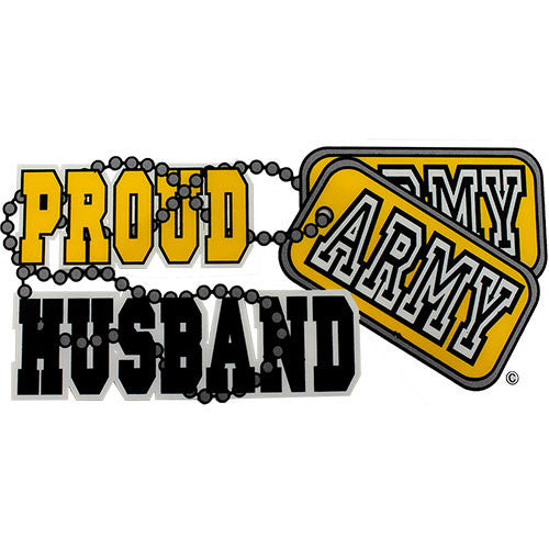 Proud Army Husband With Dog Tags Clear Decal