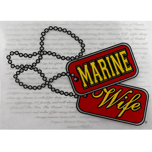 Marine Corps Wife Dog Tags Clear Decal