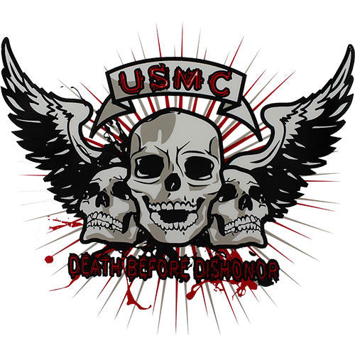 USMC Death Before Dishonor Clear Decal