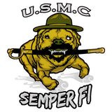 USMC Semper Fi with Running Bulldog Clear Decal