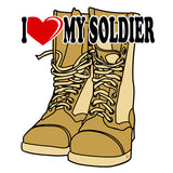 I Heart My Soldier on Desert Tan Combat Boots Clear Decal