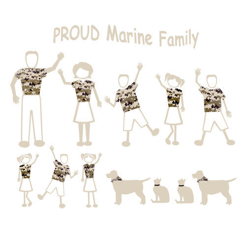Proud Marine Family Car Vinyl Transfers