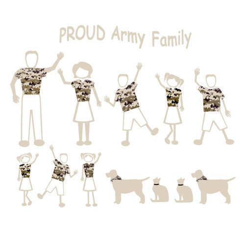 Proud Army Family Car Vinyl Transfers