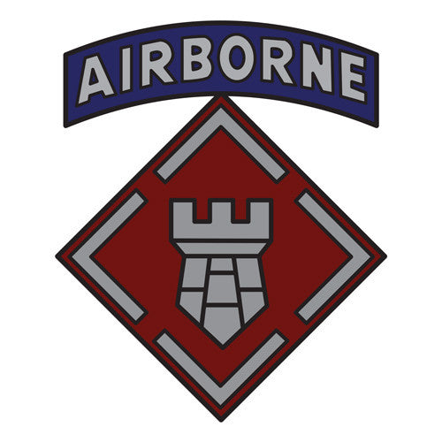 Combat Service Identification Badge Sticker - 20th Engineer Brigade with Airborne Tab Decal