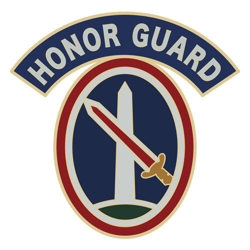 Combat Service Identification Badge Sticker - Military District of Washington with Honor Guard Tab Decal