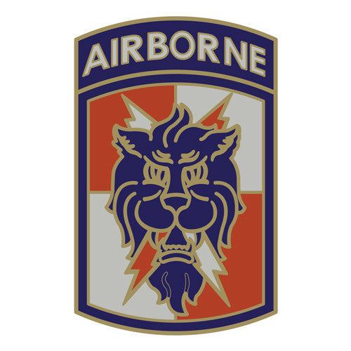 Combat Service Identification Badge Sticker - 35th Signal Brigade with Airborne Tab Decal