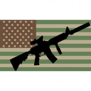 Multicam American Flag with AR-15 2 1/4 x 4 Inch Sticker
