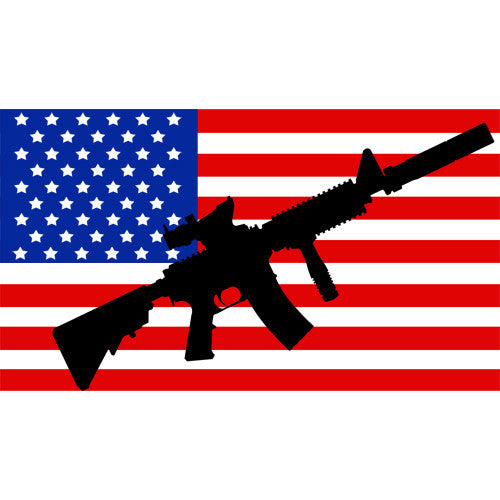 American Flag with AR-15 2 1/4 x 4 Inch Sticker