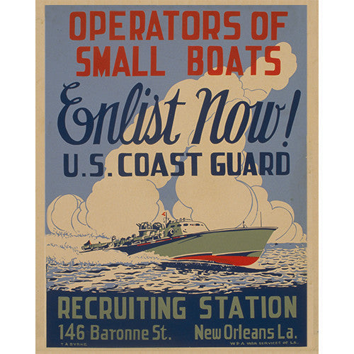 Coast Guard Enlist Now - 8 x 10 Vintage Canvas Print