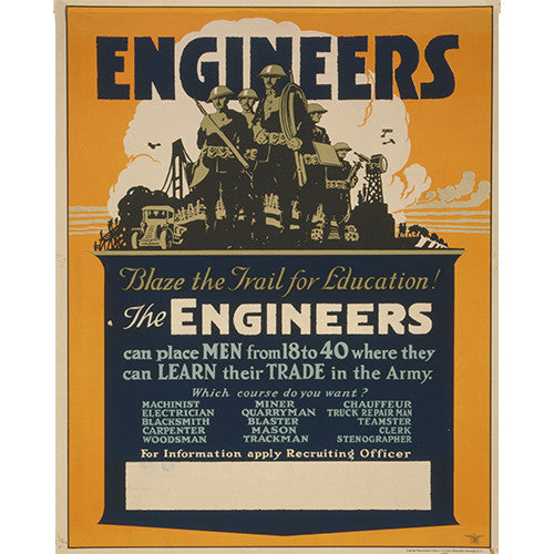 Engineer Corps - 8 x 10 Vintage Canvas Print