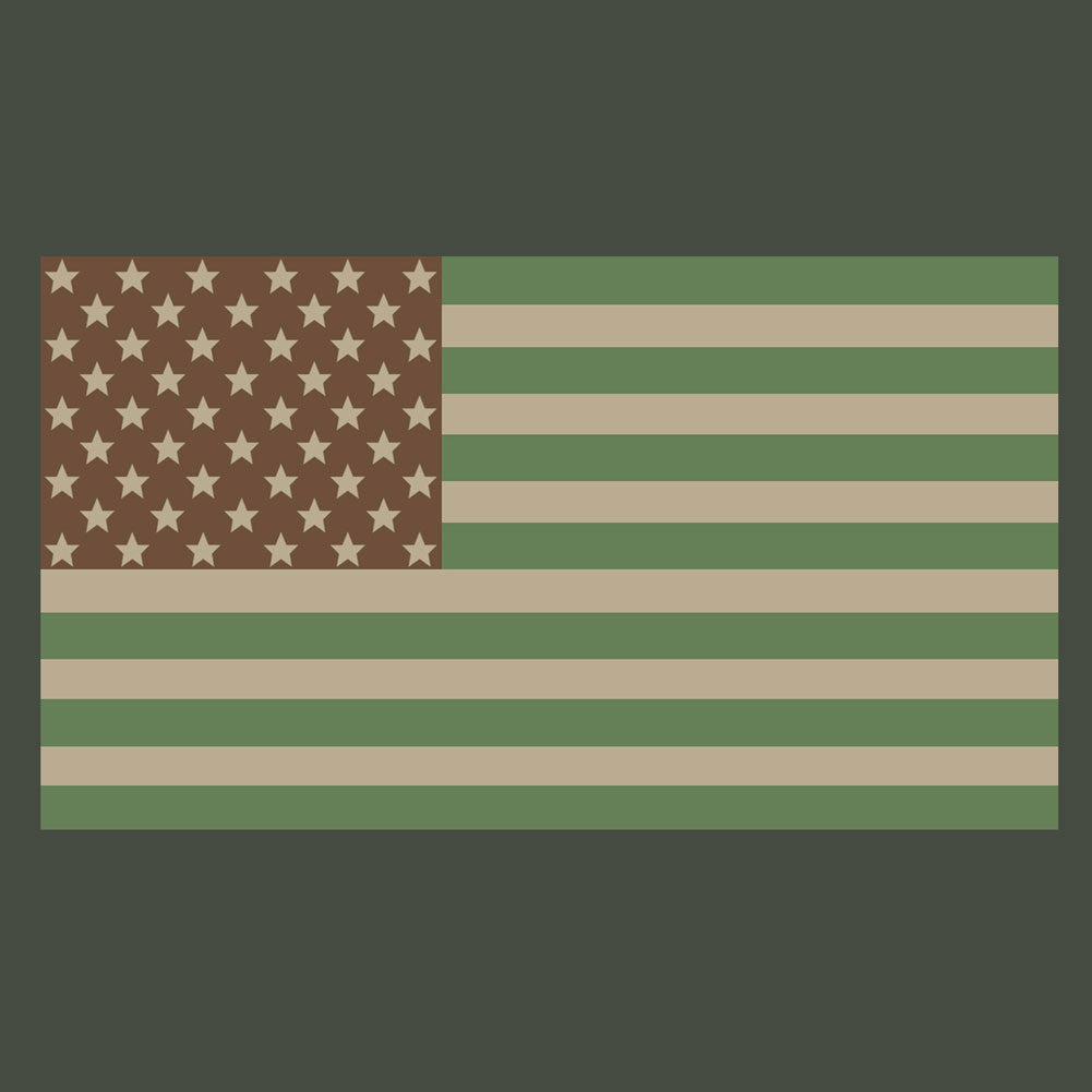 American Flag T-Shirt - Foliage Green
