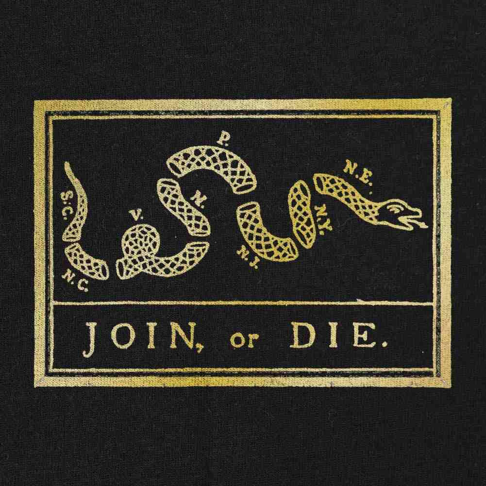 Join, or Die T-Shirt - Gold on Black  - Medium