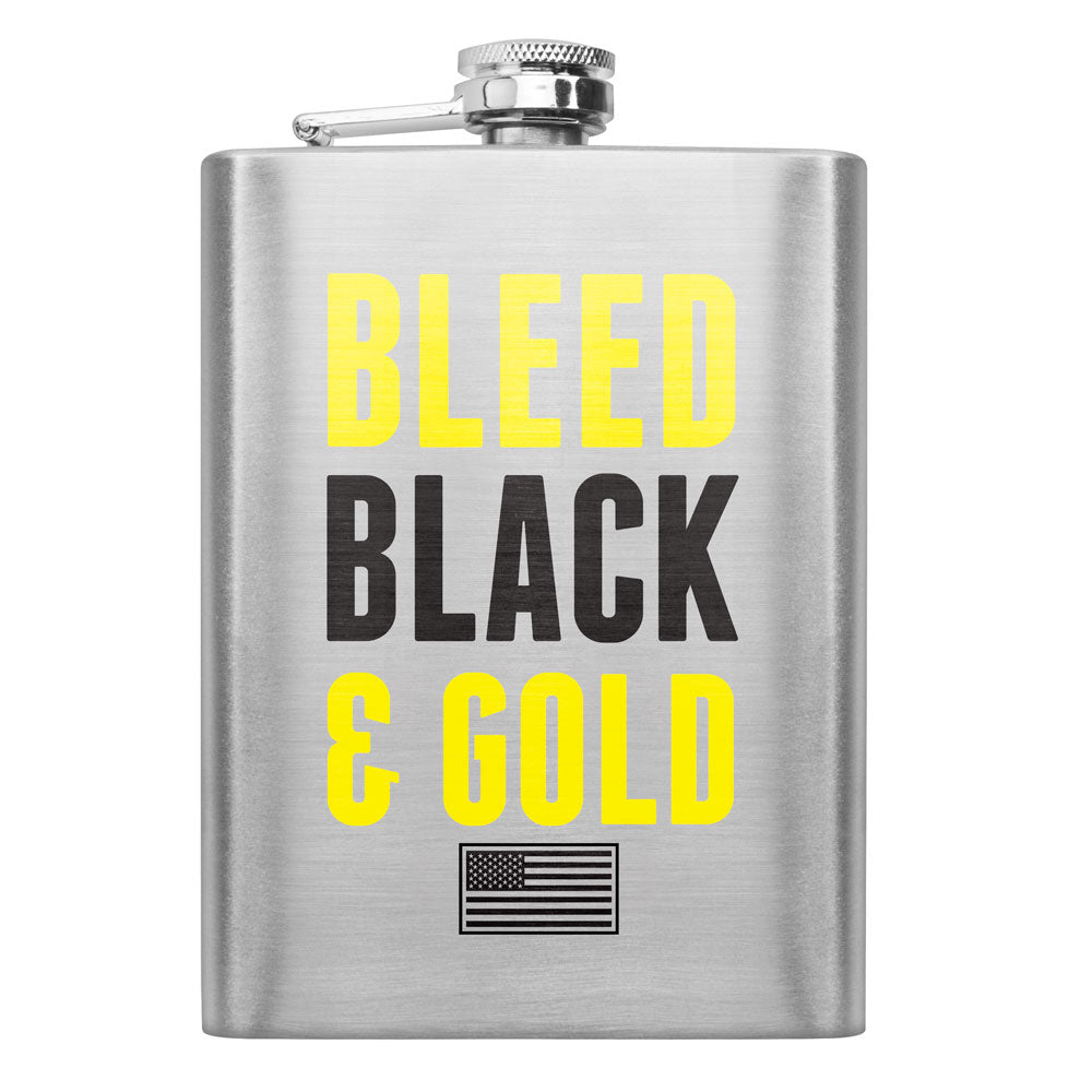 Army Bleed Black and Gold 8 oz. Flask